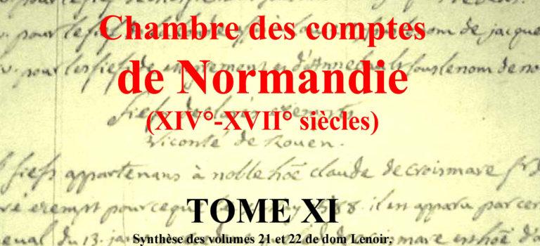 Mémoriaux de la chambre des comptes de Normandie Tome 11 bientôt disponible